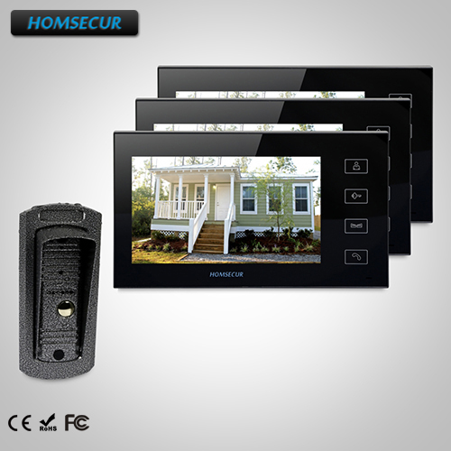 HOMSECUR 7 Video Door Phone Intercom System+Touch Button Monitor for House/Flat TC041 Camera + TM704-B Monitor