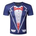 2016 Mais Recente Novidade Homens T Shirts T-shirt Retro Laço Do Smoking engraçado Homens Camisetas O Pescoço Top Camiseta Casual lazer Mens roupas