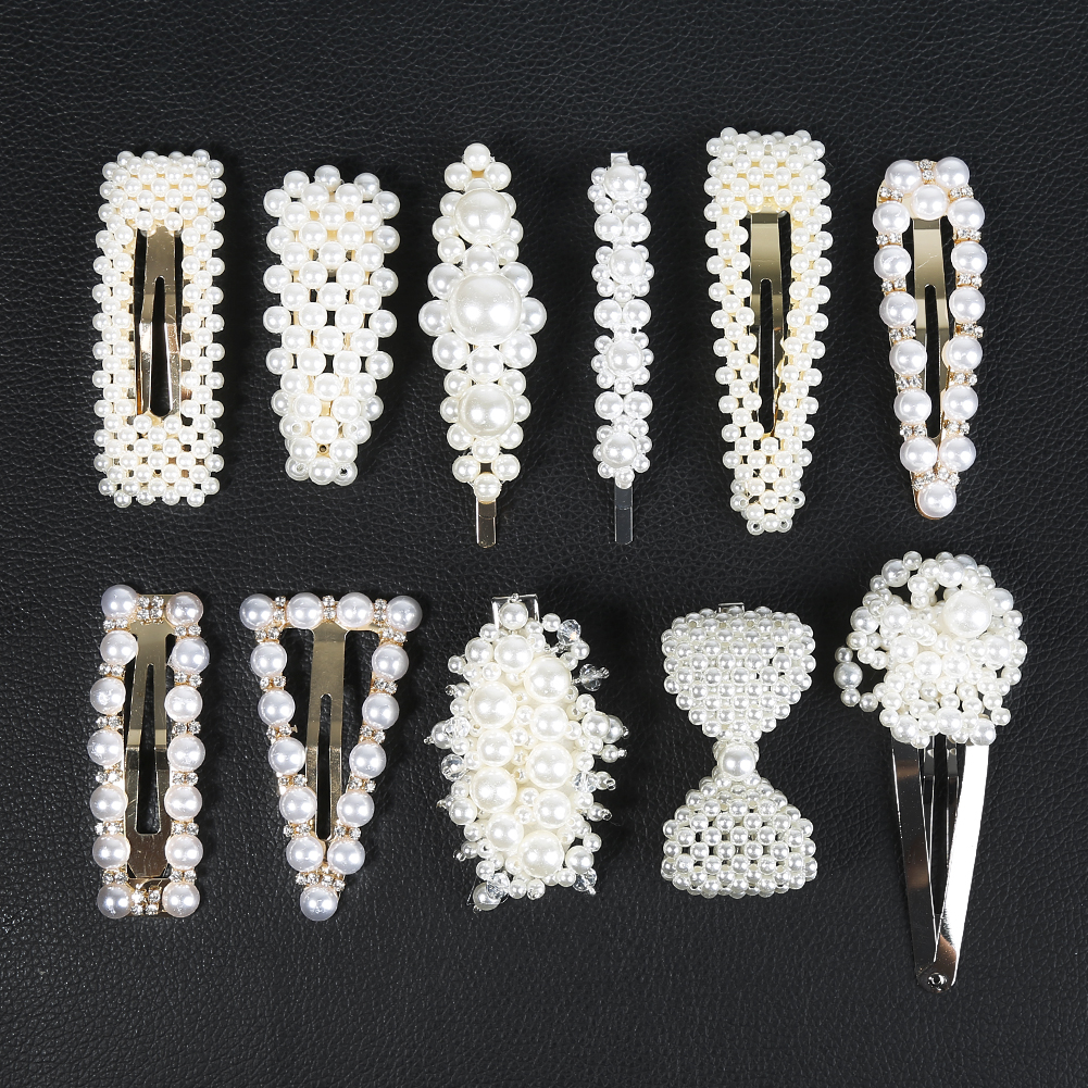 Fashion Women Simple Pearl Hair Clip 12 Styles Barrette Stick Hairpin Elegant Hair Styling Tool Accessories Beautiful Gifts