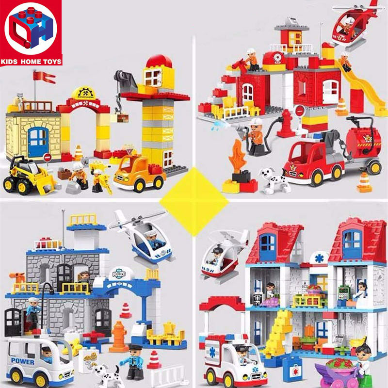 Kid's Home Toys Large Particles City Police Station Fire Station Hospital Model Large Size Building Block Brick Compatible Duplo jie star fire ladder truck 3 kinds deformations city fire series building block toys for children diy assembled block toy 22024
