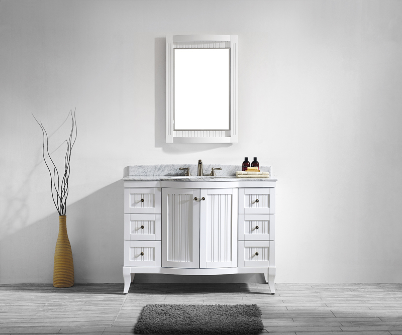 48 4/5 Inch Antique White Bathroom Cabinet American Style Oak Solid Wood  Bathroom Vanity 2 Doors & 6 Drawers with Soft Close-in Bathroom Vanities  from Home ... - 48 4/5 Inch Antique White Bathroom Cabinet American Style Oak Solid