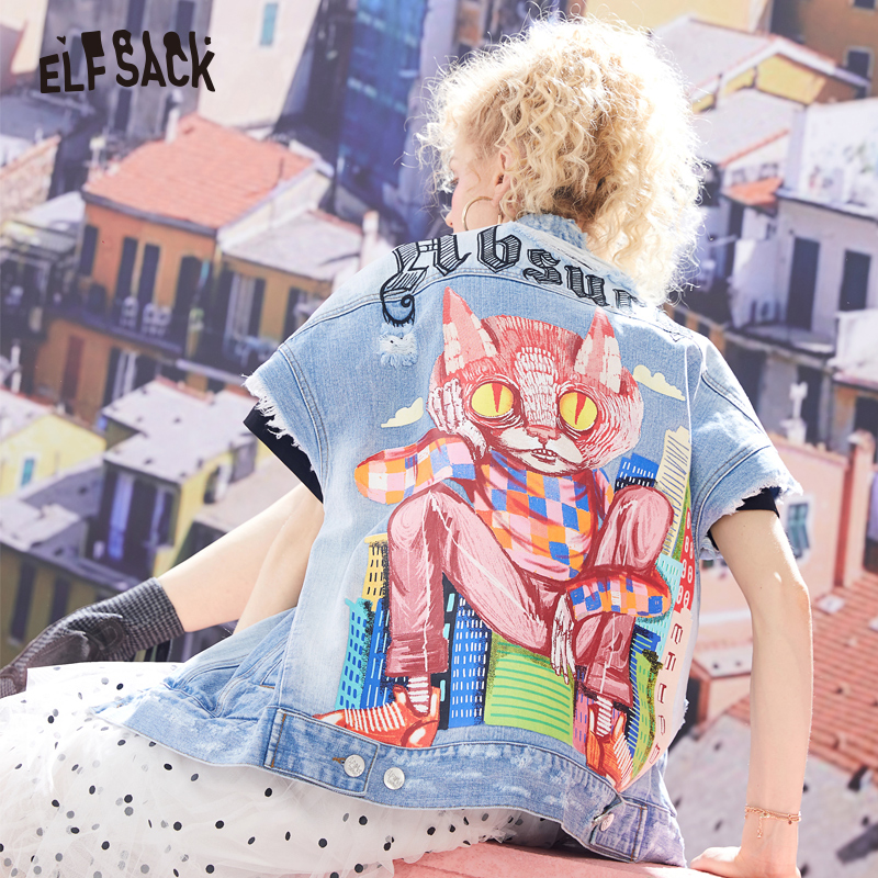 ELF SACK Original Hand Painted Cat Frayed Denim Short Sleeve Jacket 2019 Women Streetwear Graphic Cotton