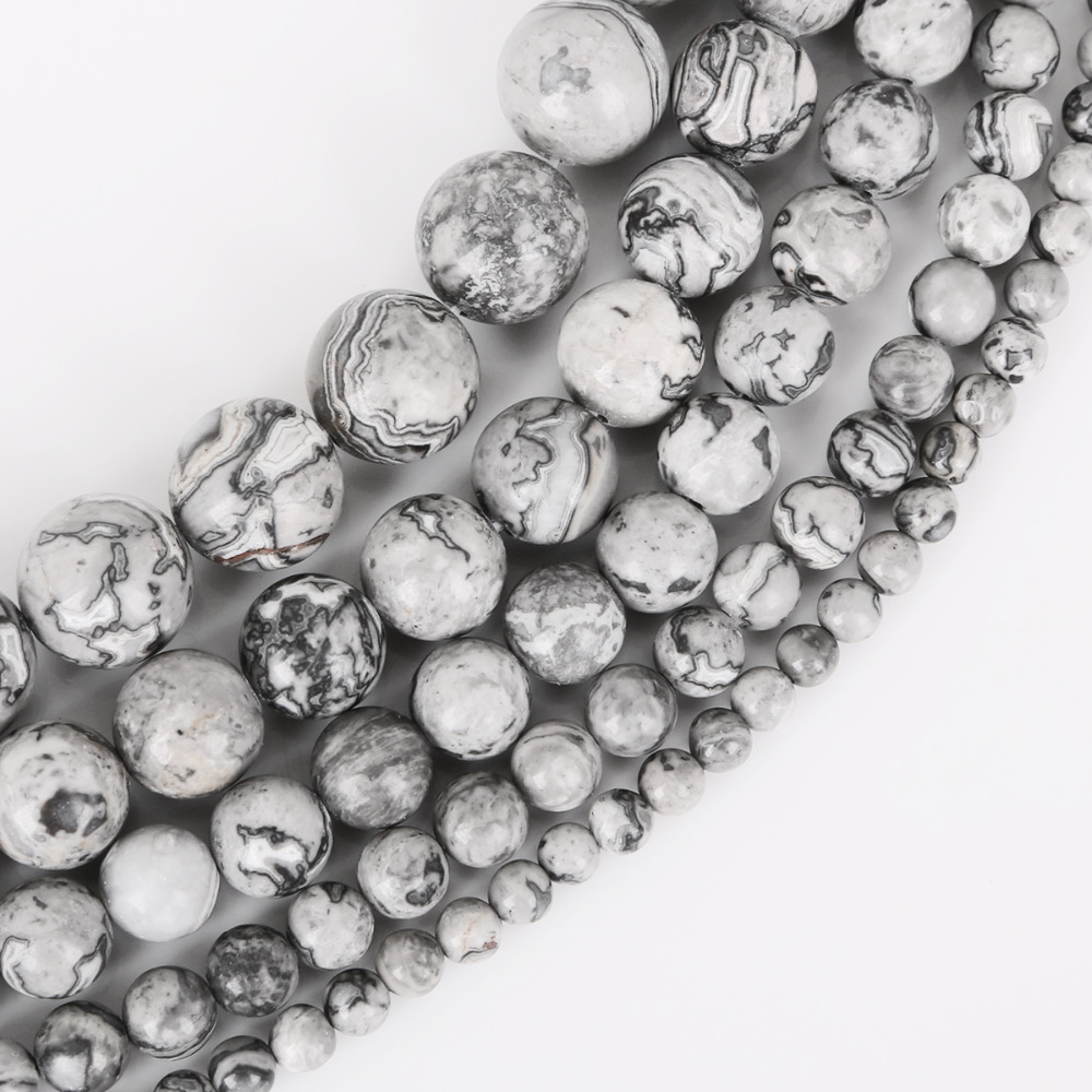 AAA+ Natural Grey Map Stone Beads Loose Round Spacer Bead For Jewelry Making 4/6/8/10/12mm 15'' DIY Bracelet&Necklace