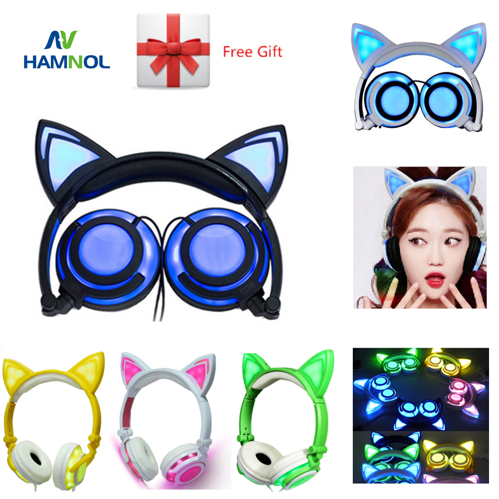 HAMNOL 3.5mm Wired Cat Ear Earphones Foldable Glowing Cat Headphones with Led Light Gaming Headset for Phone and PC Computer foldable flashing glowing cat ear headphones gaming headset earphone with led light for pc laptop computer mobile phones