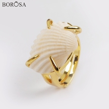 BOROSA 10Pcs New Design Gold Bezel Natural Pearl Scallops Shell Ring Jewelry Claw Fan Rings for Women ZG0426