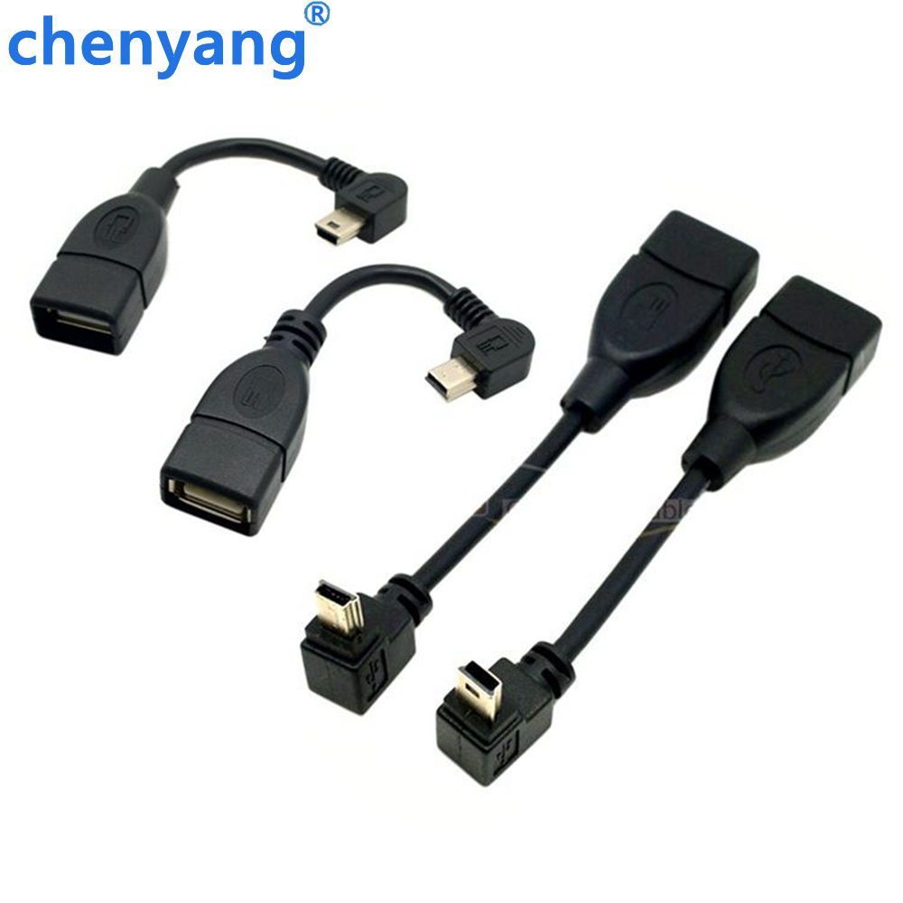 1PCS Right Angle 90 degree Angled USB Mini 5Pin to A/F OTG host cable in the Car Connecting U disk