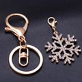 New fashion cute keychain for keys wholesale christmas gift Rhinestone snowflake key chain for woman jewelry porta llaves bijoux