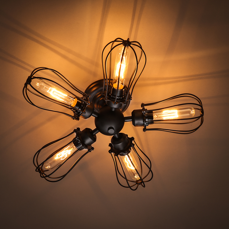 American Vintage Black Wrought Iron Cage Ceiling Lamp Home Deco Living room DIY Retro Loft 5*E27 Bulb Ceiling Light Fixture