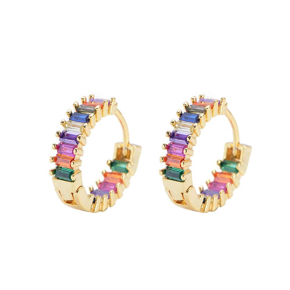2pcs CZ orecchino della vite prigioniera oro arcobaleno lettera del cuore orecchini per le donne Coreano orecchini di zirconia di cristallo di fascino dei monili del regalo