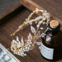 Jonnafe Tinh Tế Lá Vàng Nữ Hứa Mũ Trụ Băng Đô Quấn Tóc Hoa Cô Dâu Tiara Tóc Vương Miện Handmade Cưới Đầu Phụ Kiện