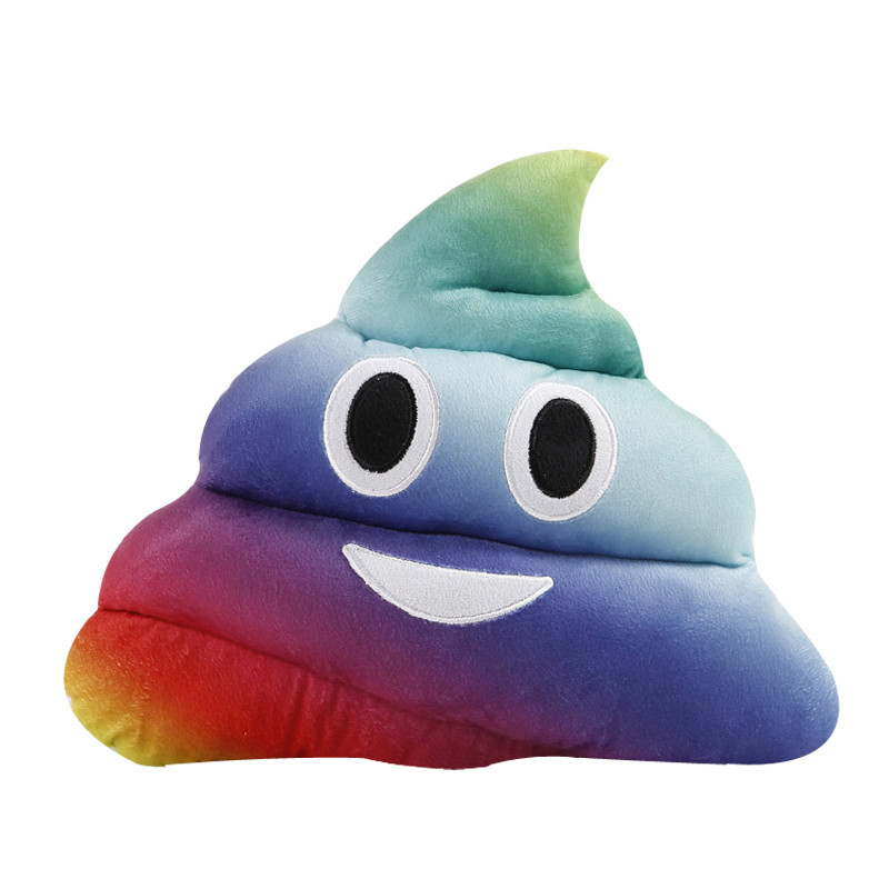 Rainbow color Amusing Emoji Emoticon Cushion Heart Eyes Poo Shape Pillow Doll Toy Gift poop emoji cushion for girl kids