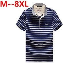 Plus size 9XL 7XL 8XL 6XL 5XL 4XL Summer New Men's POLO Shirt Fashion Striped Style Short-sleeved Polo Shirt Slim Large Size