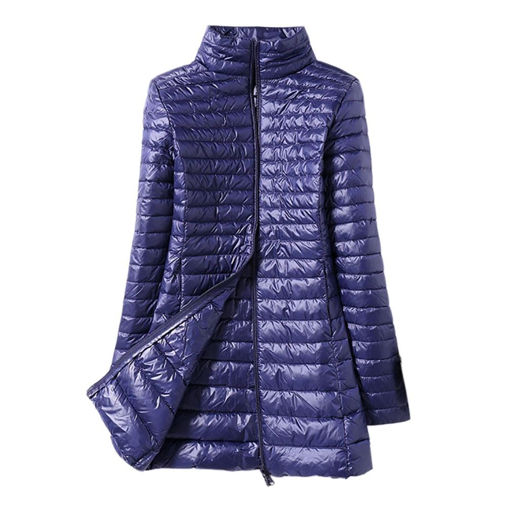 Winter Women Down Jacket Female Ultra Light Stand Collar 90% White Duck Down Jackets Slim Long Sleeve Warm Slim Long Coat Parkas