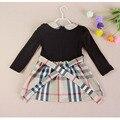 Primavera y otoño chicas a cuadros de una sola pieza vestidos para las niñas niña de manga larga niño princesa ropa de vestir CL0768