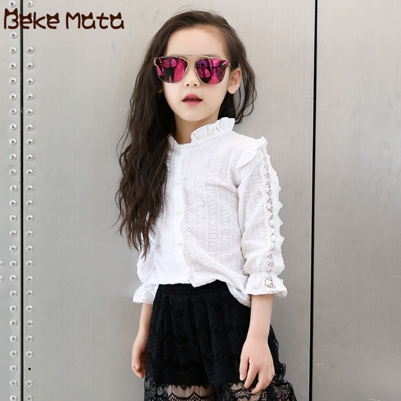 BEKE MATA White   Blouses   For Girls 2018 New Autumn School Kids Girl   Blouse   Long Sleeve Lace   Shirts   Children's Clothing 3-13 Years