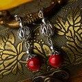 Moda red natureza pedras brincos vintage, Tibetano banhado a Prata brincos étnicos, vento Chinês de metal brincos pendurados