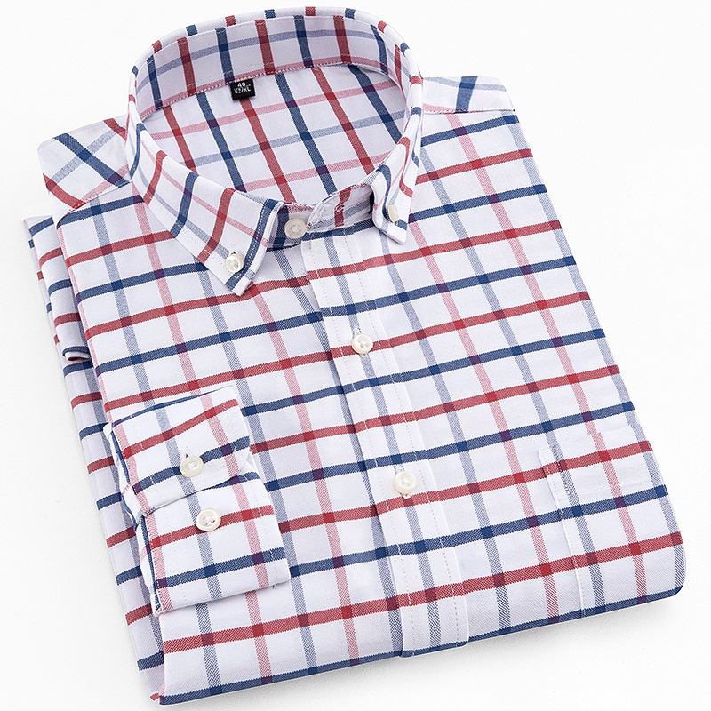 Men's Standard-Fit Plaid Striped Oxford Dress Shirt Patch Single Pocket Cotton Blends Long Sleeve Button Down Checkered Shirts