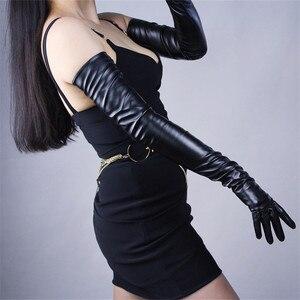 Image 4 - 70 センチメートルエクストラロング革手袋の上肘エミュレーション革シープスキン PU 女性の明るい黒タッチスクリーン機能 WPU14 70