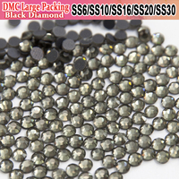 Bulk Packing Rhinestone Transfer Designs Black Diamond Wholesale DMC Rhinestones All Size Strass Rhinestones For Wedding