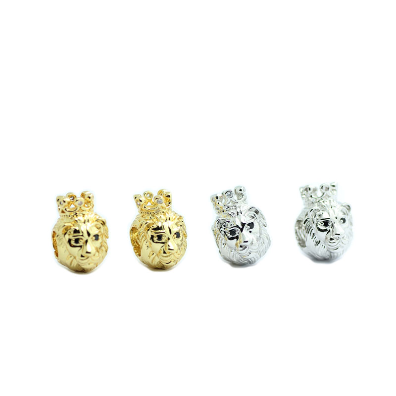 30pcs Lion Head Crown King Charms Slider Bead Jewellery Making for DIY Bracelet Zircon Pave Craft Beads