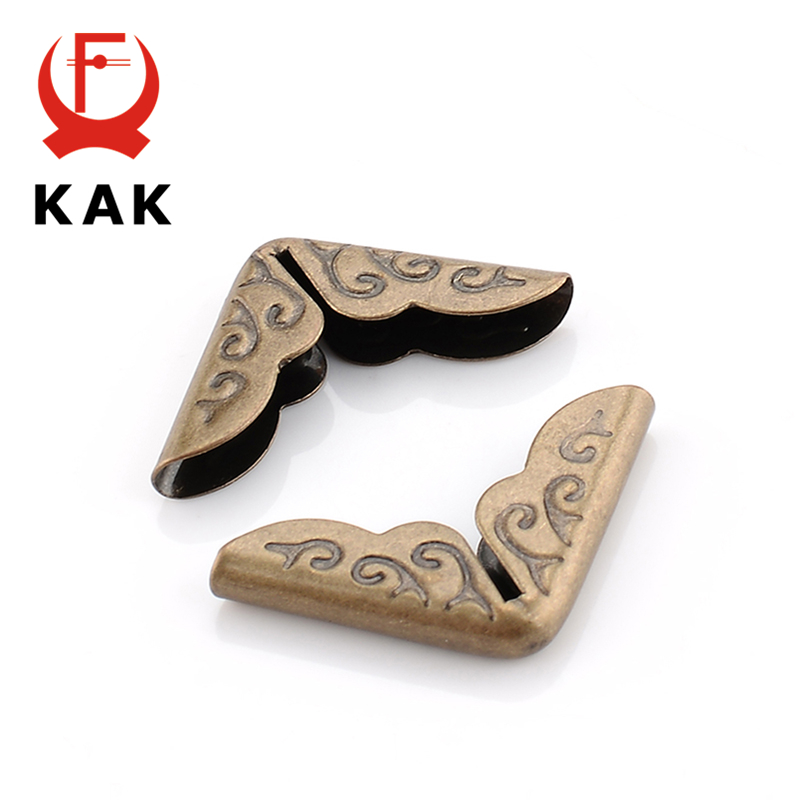 KAK 100pcs 15x15x3mm Antique Brass Metal Book Scrapbooking Notebook Albums Menus Folders Corner Protectors Bronze Tone Hardware