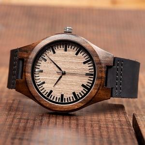 Image 4 - Часы мужские из эбенового дерева BOBO BIRD, японские кварцевые деревянные наручные часы t, подарок для мужчин, принимаем логотип