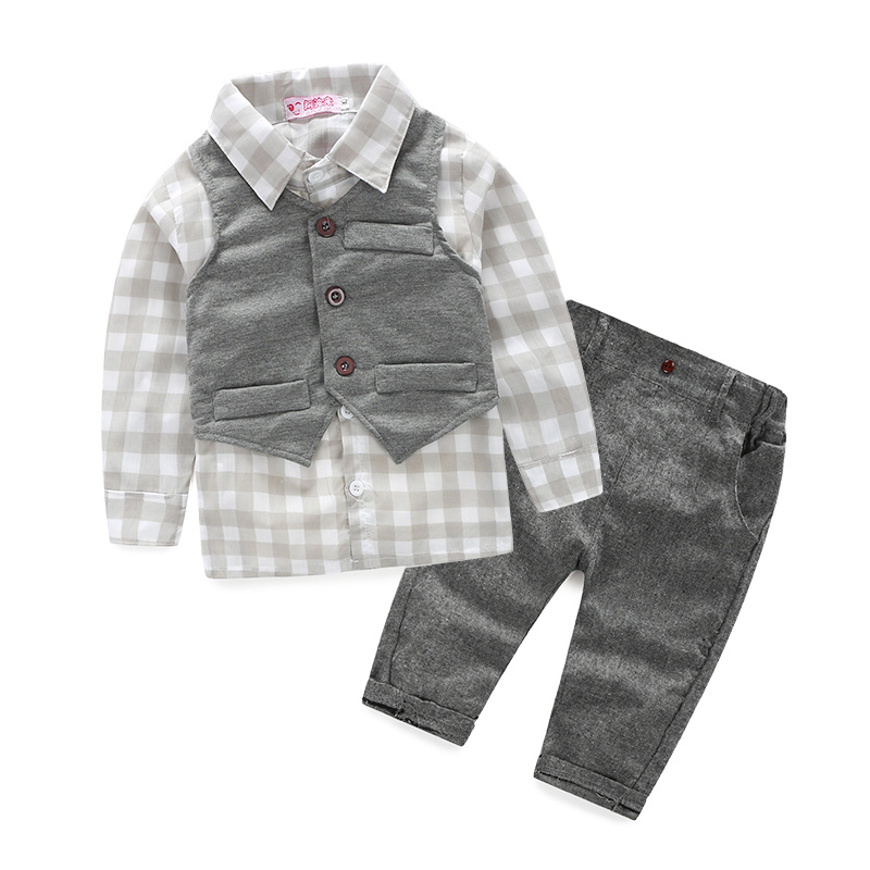 2015 Spring models gentleman suit baby boy 3pcs plaid blouse clothing set little bebe roupas meninos
