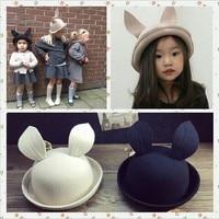 2016 New Children Wool Hat Cap Winter Fashion Baby Girl Rabbit Hats Dome Cap Black Khaki