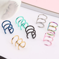 Stainless Steel Wrap Ear Cuff Fake Earring Ring Hoop Cartilage Clip Free shipping 7 color choose