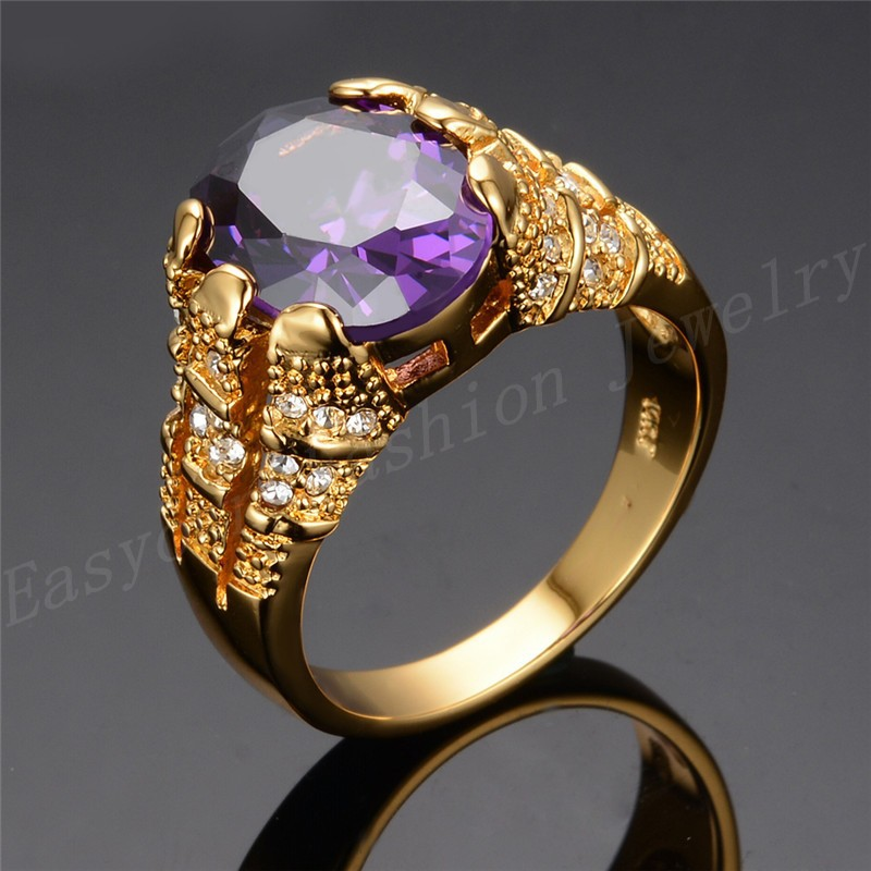 JUNXIN Size 10 Purple Zircon Stone Ring Men 10KT Yellow Gold