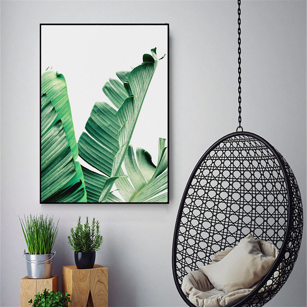Minimalist Canvas Art Wall Painting Nordic Green Leaf Posters and Prints Decorative Pictures for Living Room Bedroom Unframed