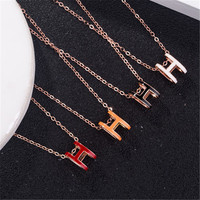 white/red/black/yellow enemal H letter silver 925 jewelry necklaces mom as a gift for mother