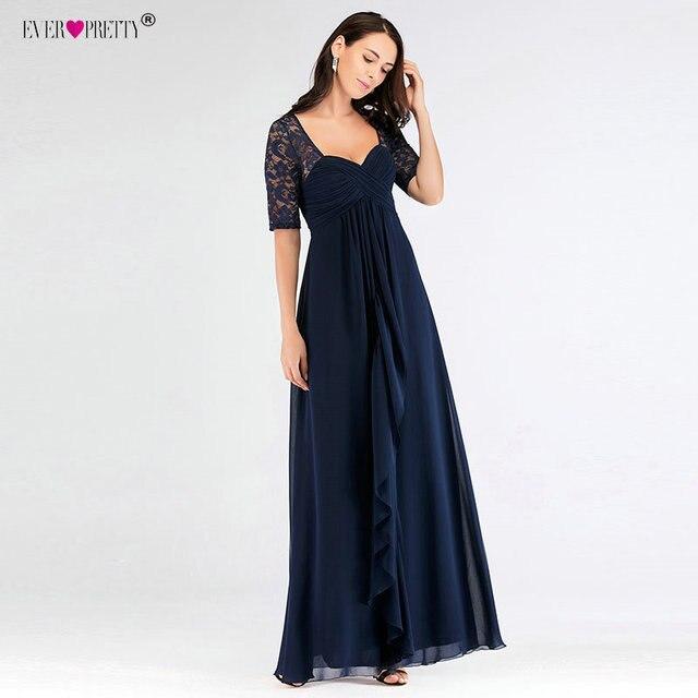 Short Sleeve Mother Of The Bride Dresses Ever Pretty EZ07625NB Elegant A  Line Long Lace Formal Evening Gowns Robe De Soiree 2018 9b0e6b5e5587