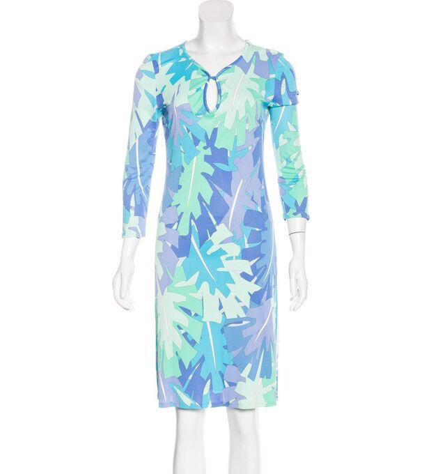 แฟชั่นใหม่2018การออกแบบเครื่องแต่งกายยี่ห้อของผู้หญิงเรขาคณิตพิมพ์3/4แขนกลวงออกเสื้อยืดผ้าไหมย์XL XXLวันชุด-ใน ชุดเดรส จาก เสื้อผ้าสตรี บน   3