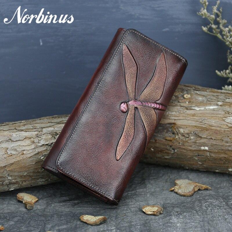 Norbinus Genuine Leather Women Clutch Bag ID/Credit Card Cash Holder Dragonfly Pattern Purse Vintage Cowhide Money Long Wallets