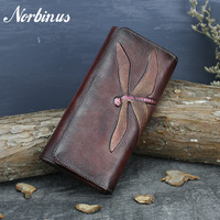 Norbinus Genuine Leather Women Clutch Bag ID/Credit Card Cash Holder Dragonfly Pattern Purse Vintage Cowhide Money Long Wallets