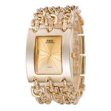 GLD y VDO de Lujo Relogio Feminino Reloj Grande Banda de Oro de Cuarzo Relojes Hombres Mujeres Reloj de Pulsera Nave Libre Del Regalo
