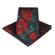 Bridegroom Wedding Business Men Tuxedo Suit Green Purple Red Flower Embroidery Pocket Square Towel Handkerchief 7CM Tie Set(China)