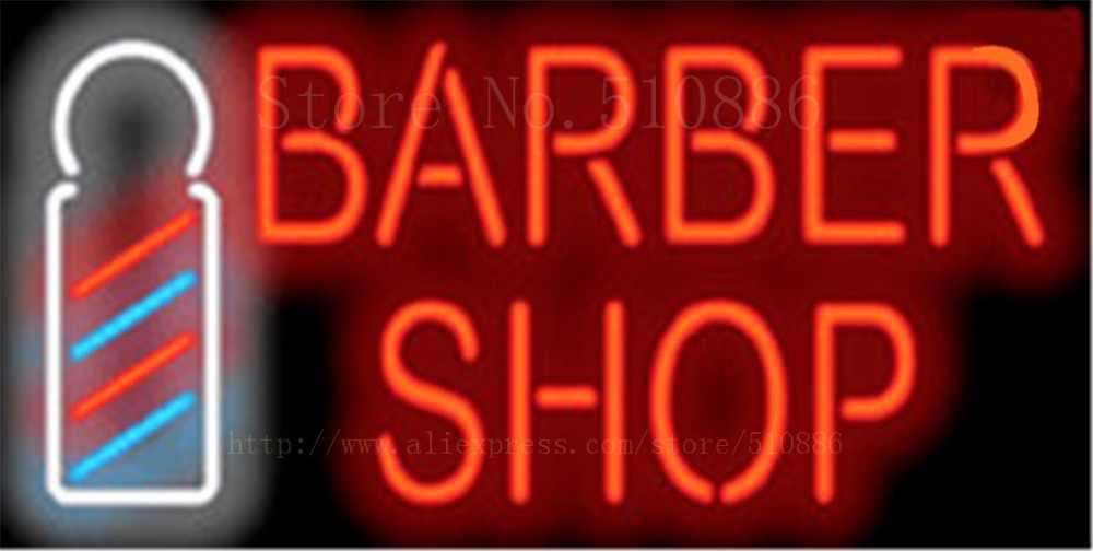 """Friseur w/Pol Club Haar Glasrohr Auto leuchtreklame Businese Handcrafted Shop Zeichen Schild Signage 19 """"x 15"""""""