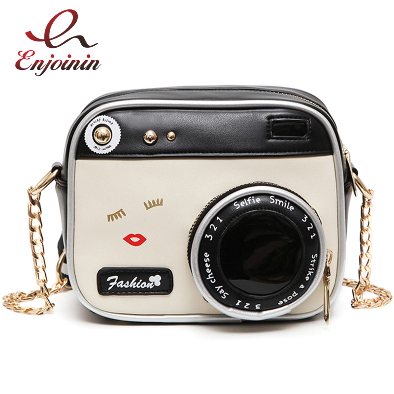 Fun fashion personality design camera modeling pu leather casual ladies shoulder bag handbag purse flap crossbody messenger bag  fun fashion personality disposable leather pu leather chain shoulder bag handbag female crossbody mini messenger bag purse