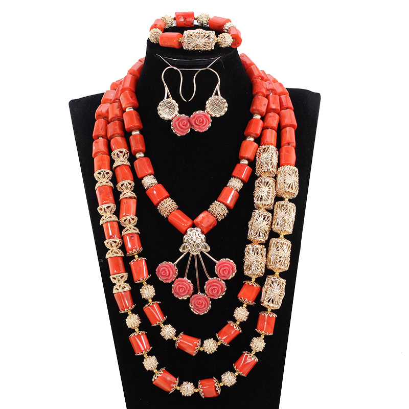 купить Ethnic red coral with gold flowers elegant african coral beads jewelry set wedding free shipping JB135 по цене 4759.83 рублей