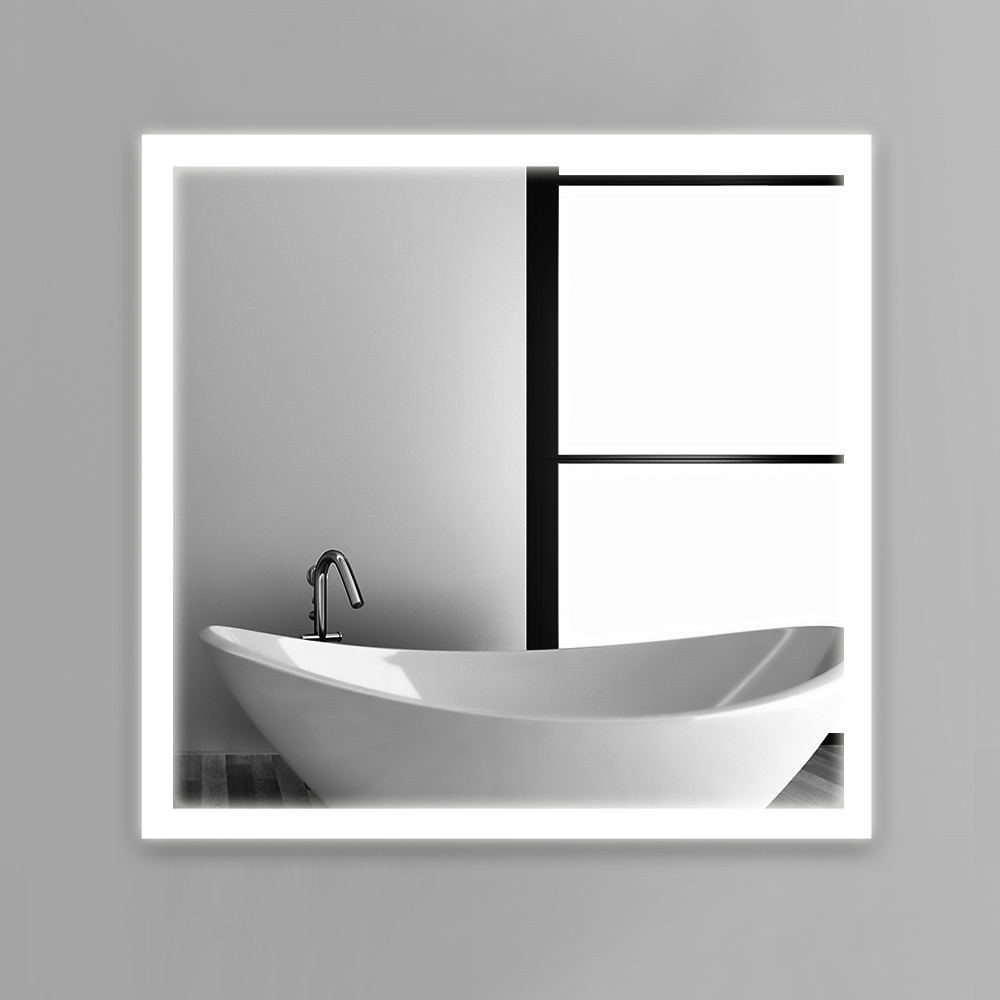 Frame led illuminated framed bath mirror80x80cm bathroom mirrors wall hung mirrors IP44 E102 90 240V Fast shipping-in Bath Mirrors from Home ...