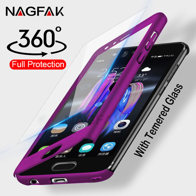 Luxury 360 Degree Full Cover Case For Huawei P9 P10 P20 Lite Plus Cases With Glass For Huawei P20 Mate 9 10 Lite Pro Phone Case