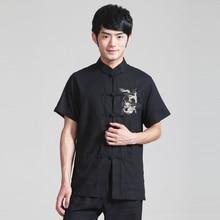 Для мужчин черный Цветная рубашка тайцзи хлопка белье тай-чи кунг-фу Костюмы Bruce Lee Винтаж китайский дракон вышивкой