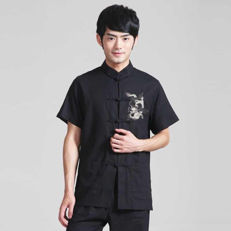Men's Black Color Shirt Taiji Cotton Linen Tai Chi Kung Fu Clothing Bruce Lee Vintage Chinese Dragon Embroidered Shirt