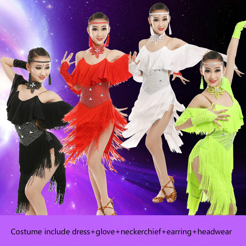Girls Tassel Professional Latin Dance Dress for Competition Child Modern Standard Ballroom Dance Dress Kids Spain