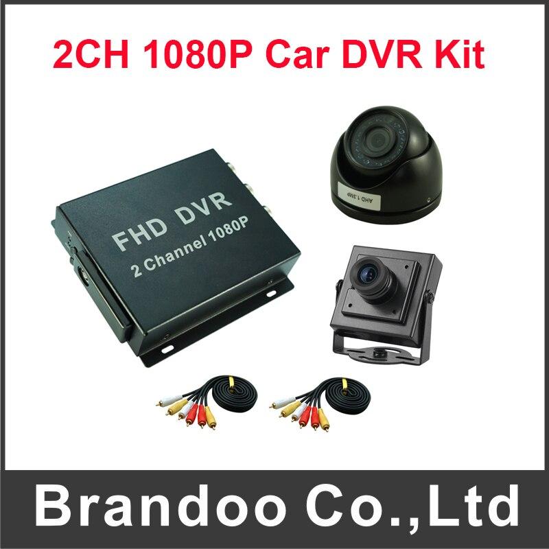 Mini 2CH 1080P Mobile DVR Car Bus Taxi Truck Support 128G SD Card Digital Video Recorder Kit Including 2pcs Car Camera