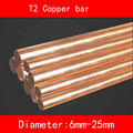 T2 cobre barra recta diámetro 6mm-25mm de longitud 100mm buena calor eléctrico conducción la resistencia a la corrosión más fácil máquina a máquina