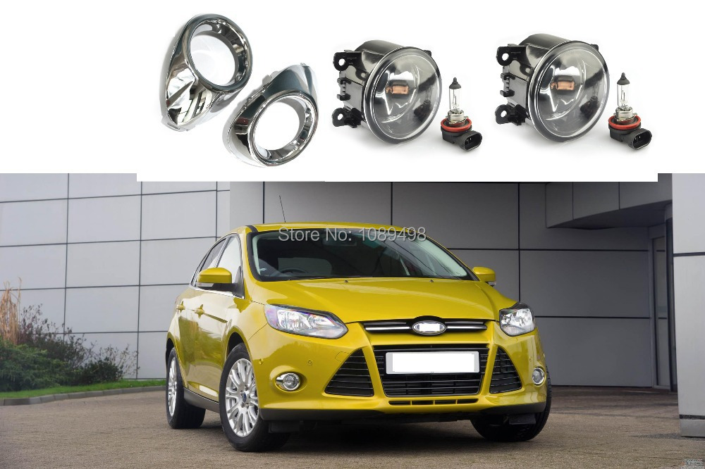 1 Set Fog lights lamps and electroplate chrome covers kit for Ford Focus 3 III 2012-2014