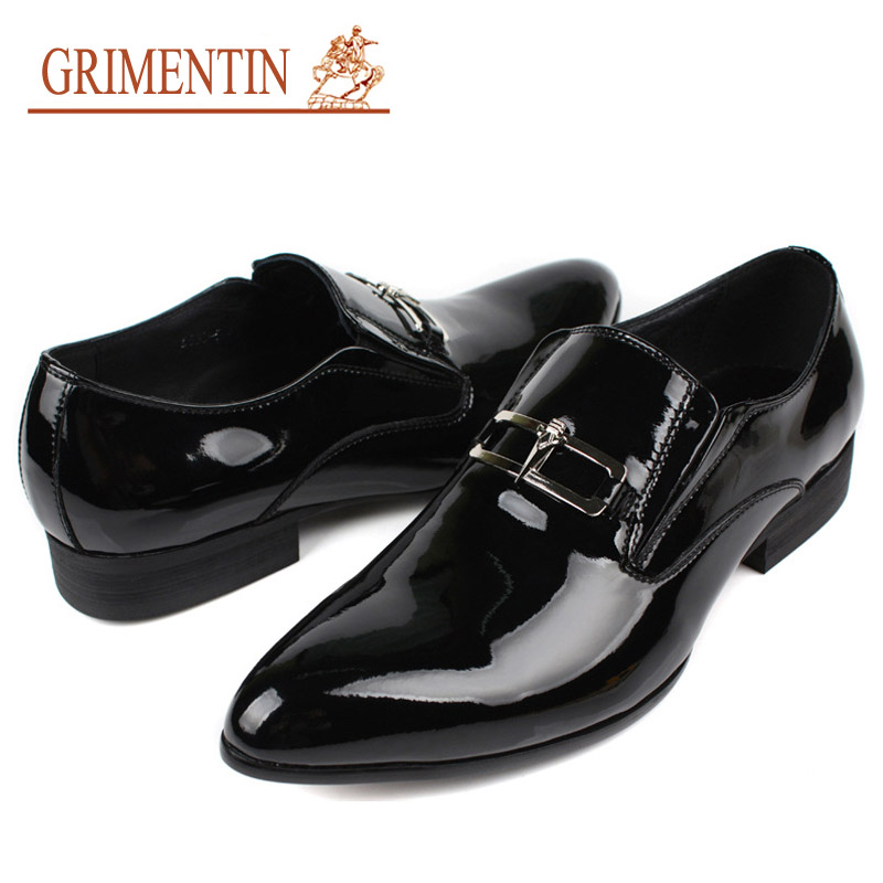 grimentin luxury italian mens patent leather shoes slip on